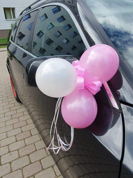 Balonu dekors pie spuguļiem, rokturiem-rozā.