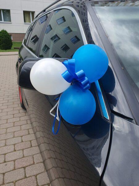 Balonu dekors pie spuguļiem, rokturiem-zils.